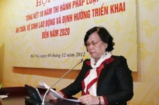 Minister Pham Thi Hai CONFERENCE SUMMARY 18 YEARS OF LAW ENFORCEMENT OSH